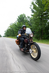 Mike Carson riding his 1930 Harley-Davidson VL in the Cross Country Chase motorcycle endurance run from Sault Sainte Marie, MI to Key West, FL. (for vintage bikes from 1930-1948). Stage 1 from Sault Sainte Marie to Ludington, MI USA. Friday, September 6, 2019. Photography ©2019 Michael Lichter.