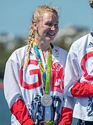 "Rio de Janeiro. BRAZIL.  Katie GREVES,  GBR W8+ Silver Medalist, awards dock. 2016 Olympic Rowing Regatta. Lagoa Stadium,<br /> Copacabana,  ""Olympic Summer Games""<br /> Rodrigo de Freitas Lagoon, Lagoa.   Saturday  13/08/2016 <br /> <br /> [Mandatory Credit; Peter SPURRIER/Intersport Images]"