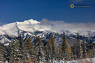 Great Northern Mountain with fall snowfall  in the Flathead National Forest, Montana, USA