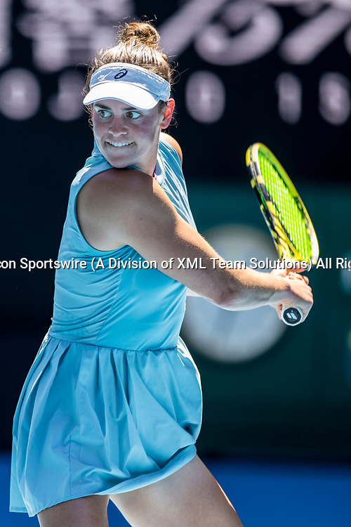 MELBOURNE, VIC - FEBRUARY 17: Jennifer Brady of the United States of America returns the ball during the quarterfinals of the 2021 Australian Open on February 17 2021, at Melbourne Park in Melbourne, Australia. (Photo by Jason Heidrich/Icon Sportswire)