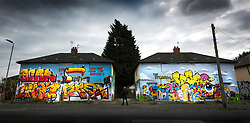 © Licensed to London News Pictures. 11/04/2019. Hull UK. Over 100 graffiti artists have painted derelict houses that have been earmarked for demolition, the project run by the Bankside Gallery where given 22 houses on the abandoned Preston Road estate in Hull by Hull council as part of a scheme to reduce anti social behaviour & arson attacks. Photo credit: Andrew McCaren/LNP