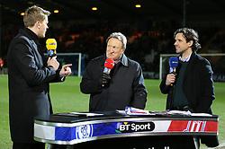 Jake Humphries, Owen Hargreaves & Neil Warnock on duty for BT Sport - Photo mandatory by-line: Matt McNulty/JMP - Mobile: 07966 386802 - 26/01/2015 - SPORT - Football - Rochdale - Spotland Stadium - Rochdale v Stoke City - FA Cup Fourth Round
