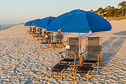 Chairs and umbrellas at the beach on Hilton Head Island, SC
