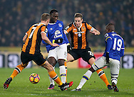 Romelu Lukaku of Everton and Michael Dawson of Hull City during the English Premier League match at the KCOM Stadium, Kingston Upon Hull. Picture date: December 30th, 2016. Pic Simon Bellis/Sportimage