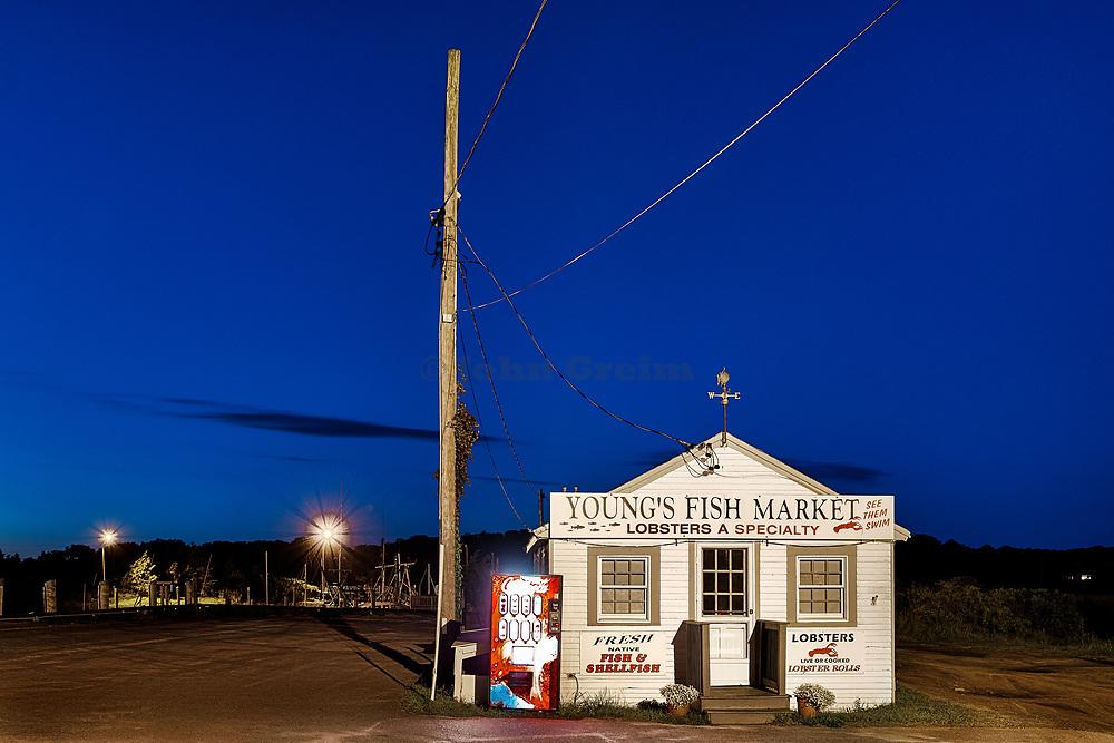 Rustic seafood market at Rock Harbor, Orleans, Cape Cod, Massachusetts, USA
