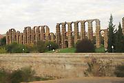 Blurred motion shot from speeding train of Roman aqueduct, Acueducto de Los Milagros, Merida, Extremadura, Spain