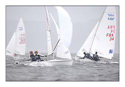 470 Class European Championships Largs - Day 2.Wet and Windy Racing in grey conditions on the Clyde..CRO83, Sime FANTELA, Igor MARENIC ..