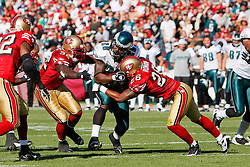 12 Oct 2008: Philadelphia Eagles running back Correll Buckhalter #28 runs the ball and is met by San Francisco 49ers FS Mark Roman #26 during the game against the San Francisco 49ers on October 12th, 2008. The Eagles won 40-26 at Candlestick Park in San Francisco, California. (Photo by Brian Garfinkel) (Photo by Brian Garfinkel)