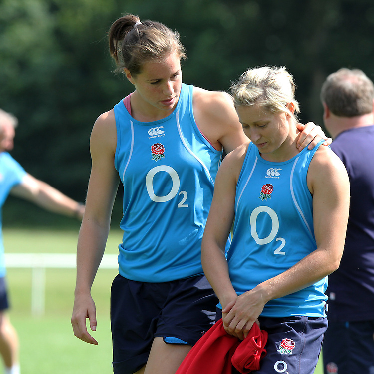 Emily Scarratt and Natasha Hunt during training. WRWC England training at Stade Montelievres, Saintry, France, on 15th August 2014