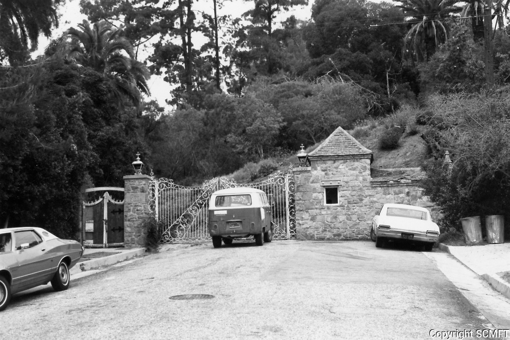 """1973 Entrance gates to Huntington Hartford's """"The Pines"""" in the Hollywood Hills"""