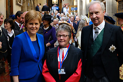 Pictured: The First Minister Nicola Sturgeon, the Right Reverend Susan M. Brown BD DipMin 2018 Moderator and the Lord Commissioner His Grace Richard Walter John Montague Stewart Scott, Duke of Buccleugh and Queensberry, KBE, DL, FSA, FRSE<br /> <br /> The 2018 General Assembly of the Church of Scotland begins.This year's annual gathering runs until Friday May 25<br /> <br /> Ger Harley   EEm 19 May 2018
