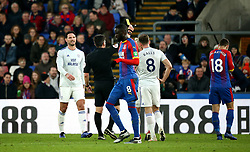 Cardiff City's Sol Bamba (not pictured) receives a yellow card from Match referee Lee Probert during the Premier League match at Selhurst Park, London.