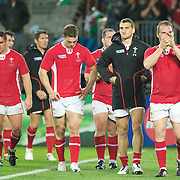 Dejected Welsh players at the end of the game during the Wales V France Semi Final match at the IRB Rugby World Cup tournament, Eden Park, Auckland, New Zealand, 15th October 2011. Photo Tim Clayton...