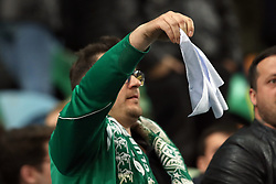 February 3, 2019 - Lisbon, Portugal - A Sporting's supporter shows a white handkerchief after the Portuguese League football match Sporting CP vs SL Benfica at Alvalade stadium in Lisbon, Portugal on February 3, 2019. (Credit Image: © Pedro Fiuza/NurPhoto via ZUMA Press)