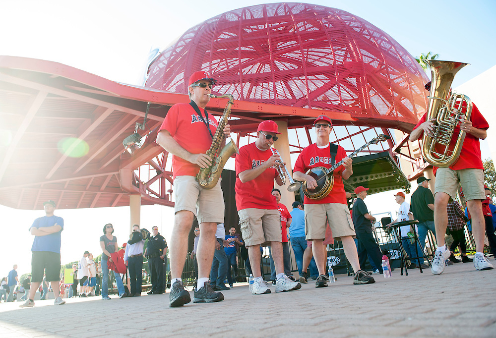 The Grand Slam Dixieland Band plays in front of the hats before the Angels' home opener Monday at Angel Stadium.<br /> <br /> ///ADDITIONAL INFO:   <br /> <br /> angels.0405.kjs  ---  Photo by KEVIN SULLIVAN / Orange County Register  --  4/4/16<br /> <br /> The Los Angeles Angels take on the Chicago Cubs during their 2016 home opener Monday at Angel Stadium.<br /> <br /> <br />  4/4/16