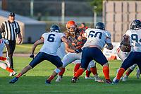 KELOWNA, BC - AUGUST 3:  JJ Heaton #62 of Okanagan Sun blocks Jericho Schmidt LB #6 and Damian Person DL #60 of Kamloops Broncos  at the Apple Bowl on August 3, 2019 in Kelowna, Canada. (Photo by Marissa Baecker/Shoot the Breeze)