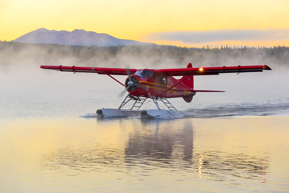 Alpine Aviation DHC-2 Beaver prepares for take off on a frosty fall Yukon morning