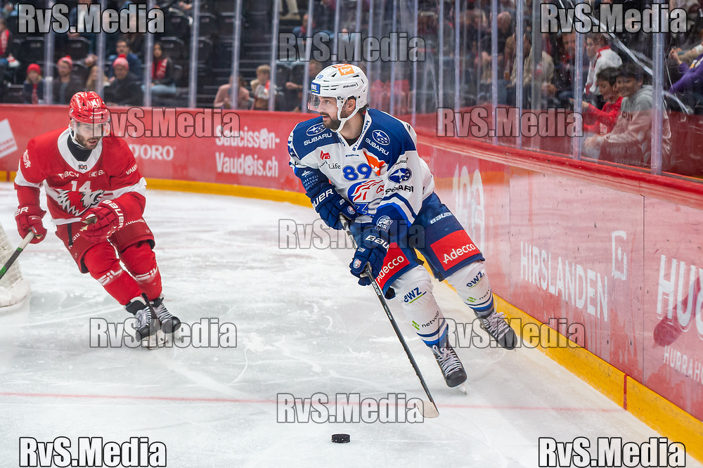 LAUSANNE, SWITZERLAND - OCTOBER 01: Dominik Diem #89 of ZSC Lions in action during the Swiss National League game between Lausanne HC and ZSC Lions at Vaudoise Arena on October 1, 2021 in Lausanne, Switzerland. (Photo by Monika Majer/RvS.Media)