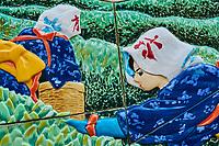 Japon, île de Honshu, région de Kansaï, Uji, céramique reprensentant des cueilleuses de thé // Japan, Honshu island, Kansai region, Uji, ceramic of tea picker