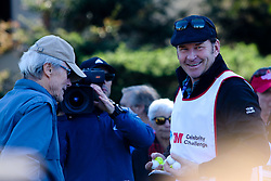"""Feb 6, 2019 Pebble Beach, Ca. USA TV, Film and singing stars that included Winners, CLINT EASTWOOD who's caddy was former golf pro, SIR NICK FALDO, whom played in the """"3M Celebrity Challenge"""" to try for part of the 100K purse to go to their favorite charity and win the Estwood-Murray cup, for which team Clint Eastwwod's group won.. The event took place during practice day of the PGA AT&T National Pro-Am golf on the Pebble Beach Golf Links. Photo by Dane Andrew c. 2019 contact: 408 744-9017  TenPressMedia@gmail.com"""