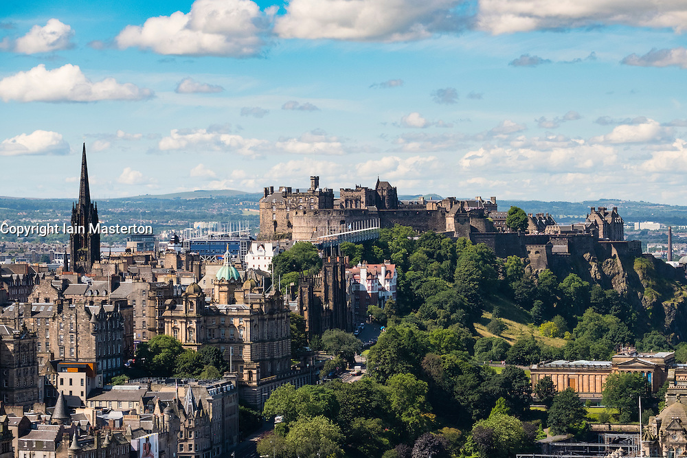 Skyline of city of Edinburgh towards the castle from Calton Hill in Scotland United Kingdom