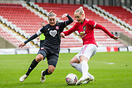 Bristol City Defender Loren Dykes (2) (Capt) & Manchester United Forward Leah Galton (11) during the FA Women's Super League match between Manchester United Women and Bristol City Women at Leigh Sports Village, Leigh, United Kingdom on 5 January 2020.