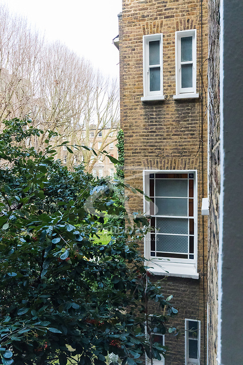 From the outside there is little evidence of a fire in a flat on the first floor of a converted house claims the life of a man and his dog in Holland Park, West London. February 07 2018.