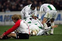 Fotball<br /> Nederland 2004/2005<br /> Foto: Proshots/Digitalsport<br /> NORWAY ONLY<br /> <br /> 21.11.2004<br /> feyenoord - groningen<br /> <br /> erik nevland duikt op sander van gessel nadat nevland met behulp van van gessel de 2-1 heeft gescoord glenn loovens baalt op de voorgrond