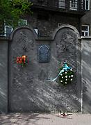 Zabytkowy, ocalały fragment muru getta przy ulicy Lwowskiej 27 w Krakowie, Polska<br /> An ancient, surviving fragment of the ghetto wall at 27 Lvivska Street in Cracow, Poland