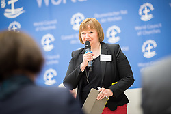 18 September 2017, Geneva, Switzerland: A talkshow format presents a range of programmes and activities of the World Council of Churches, at the Ecumenical Centre in Geneva where the WCC hosts a meeting of member churches' Ecumenical Officers. Here, WCC director of communication Marianne Ejdersten.