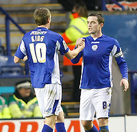 Photo: Steve Bond/Richard Lane Photography. Leicester City v Swansea City. FA Cup Third Round. 02/01/2010. Andy King is congratulated by Matt Oakley