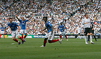 Photo: Steve Bond. <br />Derby County v Portsmouth. Barclays Premiership. 11/08/2007. Benjani Mwaruwari turns after scoring