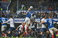 Portsmouth Defender, Christian Burgess (6) wins a header during the EFL Sky Bet League 1 match between Portsmouth and Wycombe Wanderers at Fratton Park, Portsmouth, England on 22 September 2018.
