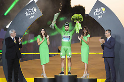 Slovakia's Peter Sagan (C) celebrates his best sprinter's green jersey on the podium of the 21st and last stage of the 106th edition of the Tour de France cycling race between Rambouillet and Paris Champs-Elysees, in Paris, France on July 28, 2019. Photo by Eliot Blondet/ABACAPRESS.COM