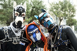 September 9, 2017 - Berlin, Germany - People attend the 'Folsom Europe' 2017 fetish street festival in Berlin, Germany on September 9, 2017. The annual festival was first held 2004 in Berlin following the example of a street fair in San Francisco and is mainly dedicated to fetish, kinky, leather and uniform clothing. (WARNING: photos contain explicit language) (Credit Image: © Emmanuele Contini/NurPhoto via ZUMA Press)