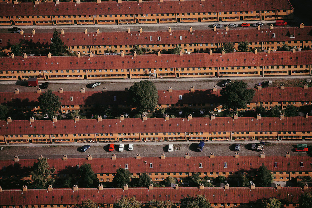 Aerial of yellow row houses, Kronprinzessegade. Copenhagen, Denmark.
