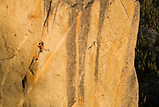 "Tom Addison climbs a steep crack ""Hung Frankenstein"" 5.12a at the Frankensteins Cliff, Sonora Pass, California"