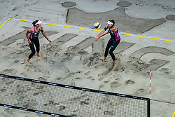 Joana Heidrich, Anouk Vergé-Dépré SUI in action during the last day of the beach volleyball event King of the Court at Jaarbeursplein on September 12, 2020 in Utrecht.