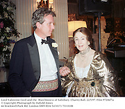 Lord Valentine Cecil and the  Marchioness of Salisbury. Charity Ball. 22/5/97. Film 97206f7a<br />© Copyright Photograph by Dafydd Jones<br />66 Stockwell Park Rd. London SW9 0DA<br />Tel 0171 733 0108