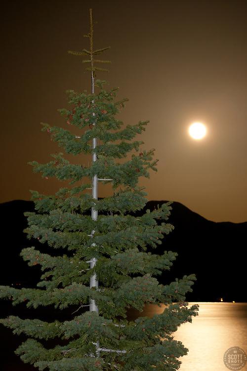 """Full Moon Over Lake Tahoe 9"" - This full moon was photographed rising over Heavenly Ski Resort at Lake Tahoe."