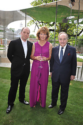 Left to right, ALI YUSSEF KHADRA, JULIA PEYTON-JONES and LORD PALUMBO at the annual Serpentine Gallery Summer Party sponsored by Canvas TV  the new global arts TV network, held at the Serpentine Gallery, Kensington Gardens, London on 9th July 2009.