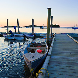 After sunset at the town pier in Lubec, Maine.