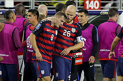 July 26, 2017 - Santa Clara, CA, USA - Santa Clara, CA - Wednesday July 26, 2017: Jordan Morris and Michael Bradley celebrate a Jordan Morris goal during the 2017 Gold Cup Final Championship match between the men's national teams of the United States (USA) and Jamaica (JAM) at Levi's Stadium. (Credit Image: © Bob Drebin/ISIPhotos via ZUMA Wire)