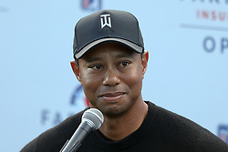 January 25, 2018 - San Diego, California, United States - Tiger Woods speaks to the media after the first round of the 2018 Farmers Insurance Open at Torrey Pines GC. (Credit Image: © Debby Wong via ZUMA Wire)