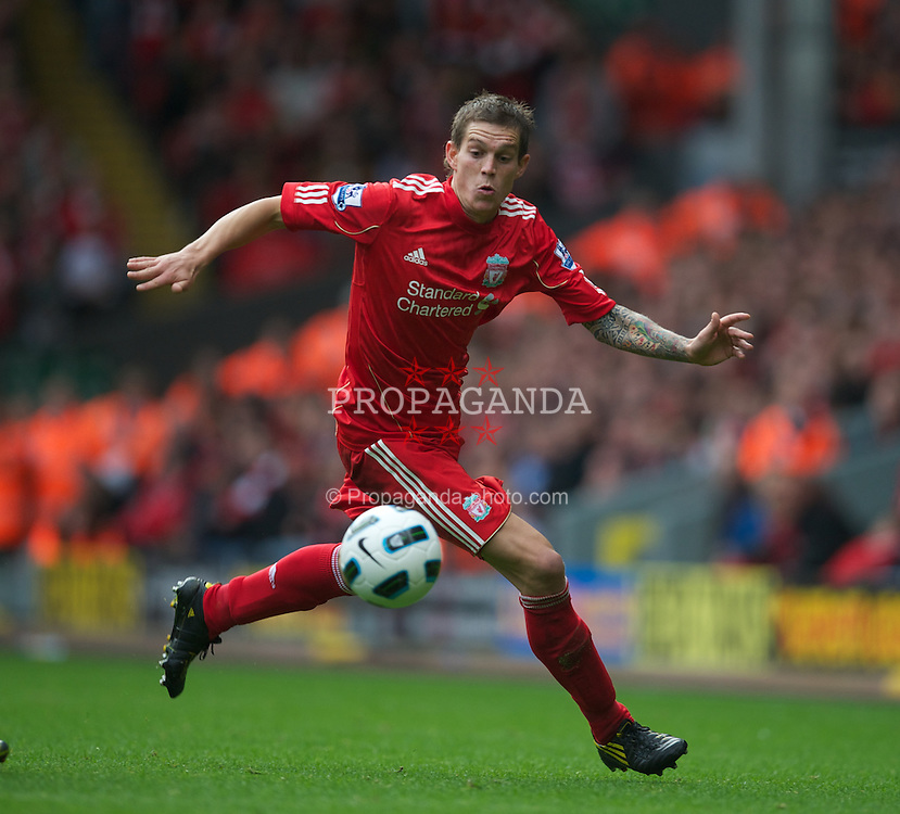 LIVERPOOL, ENGLAND - Saturday, September 25, 2010: Liverpool's Daniel Agger in action against Sunderland during the Premiership match at Anfield. (Photo by David Rawcliffe/Propaganda)