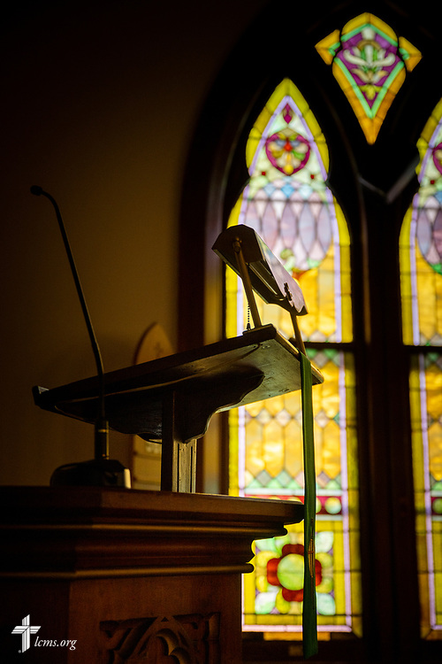 The pulpit for preaching on Wednesday, Aug. 26, 2020, at St. Peter's Lutheran Church, LaGrange, Mo. LCMS Communications/Erik M. Lunsford