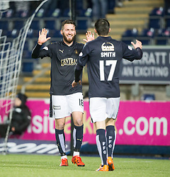 Falkirk's Lee Miller scoring their fourth goal and his hat-trick. <br /> Falkirk 4 v 1 Fraserburgh, Scottish Cup third round, played 28/11/2015 at The Falkirk Stadium.