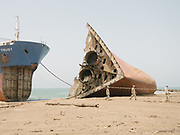 Gadani ship-breaking yard is the world's third largest ship breaking yard. The yard consists of 132 ship-breaking plots[1] located across a 10 km long beachfront at Gadani, Pakistan, about 50 kilometres northwest of Karachi.<br /> <br /> In the 1980s, Gadani was the largest ship-breaking yard in the world, with more than 30,000 direct employees. However, competition from newer facilities in Alang, India and Chittagong, Bangladesh resulted in a significant reduction in output, with Gadani today producing less than one fifth of the scrap it produced in the 1980s. The recent reduction in taxes on scrap metal has led to a modest resurgence of output at Gadani, which now employs around 6,000 workers.