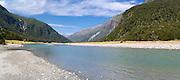 Panoramic view of the Wilkins River, Mount Aspiring National Park, near Makarora, Otago, New Zealand.