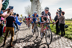 2nd group with Philippe GILBERT from Belgium of Quick-Step Floors at the 4 star cobblestone sector 17 from Hornaing to Wandignies during the 2018 Paris-Roubaix race, France, 8 April 2018, Photo by Pim Nijland / PelotonPhotos.com   All photos usage must carry mandatory copyright credit (Peloton Photos   Pim Nijland)